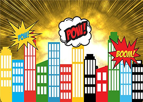 Daniu Screen Background Super Hero City Photo Props for Studio Cartoon Baby Backdrops Vinyl 7x5FT 210cm X 150cm (Party City Backdrop)