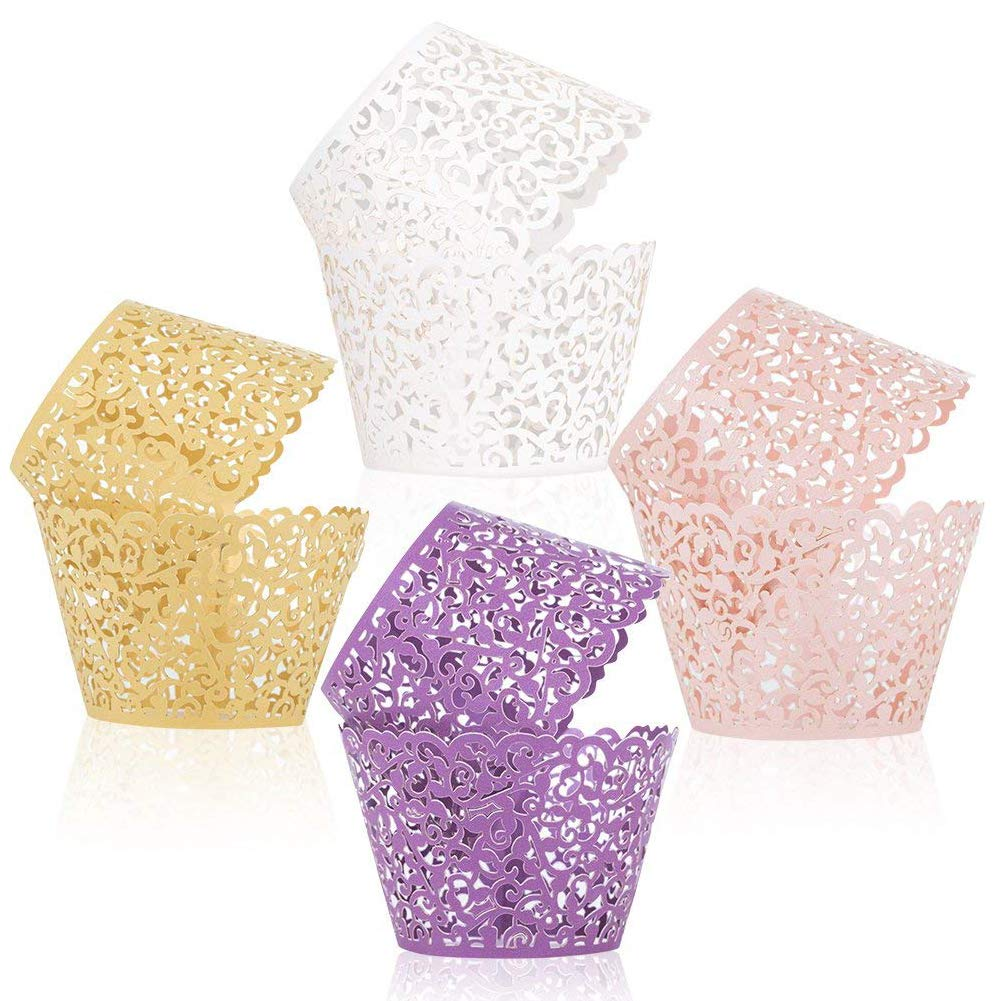 Pink T-Language 50pcs Cupcake Wrappers Lace Cupcake Liners Laser Cut Artistic Bake Cake Paper Cups Muffin Paper Holders for Wedding Party Birthday Decoration