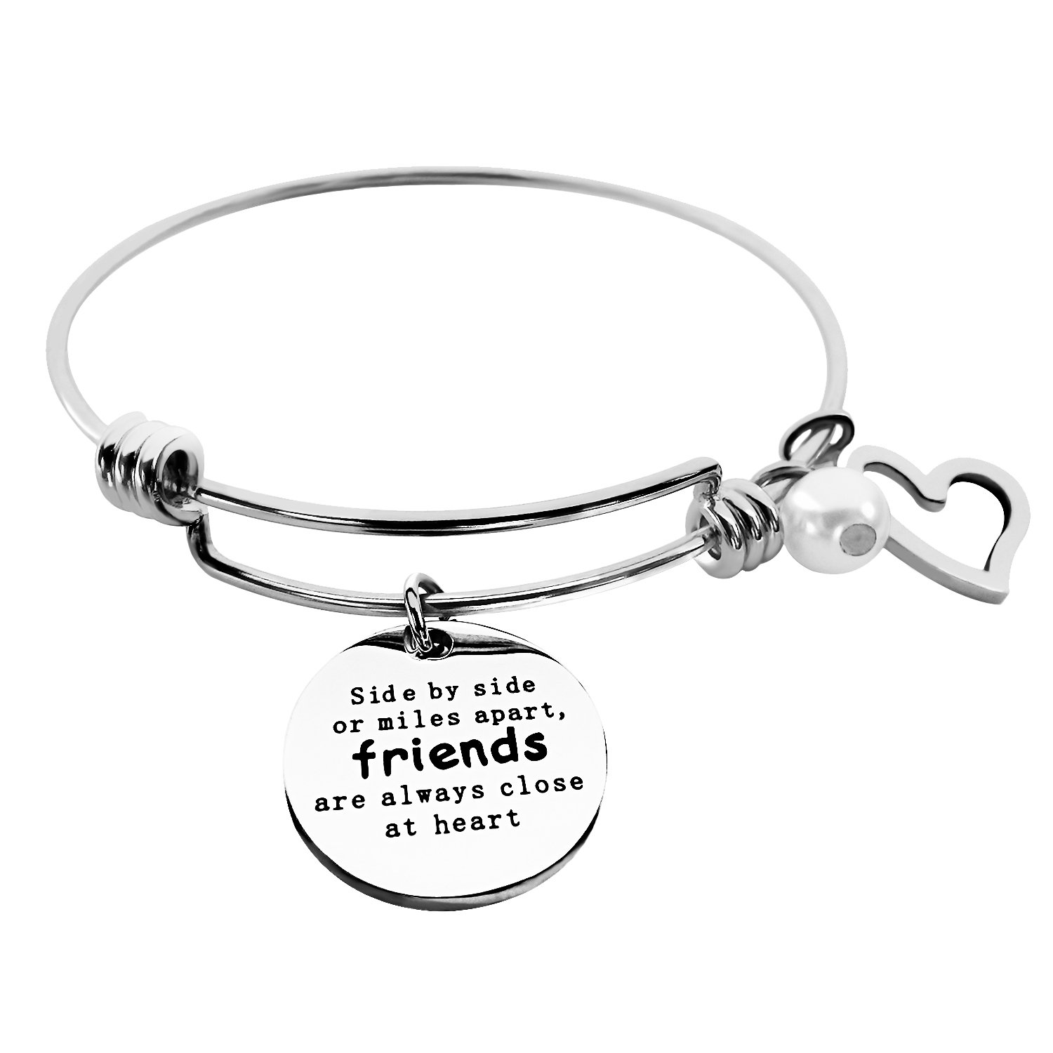 ALoveSoul Best Friends Bracelet - Side By Side Or Miles Apart Bangle - Long Distance Friendship Gifts