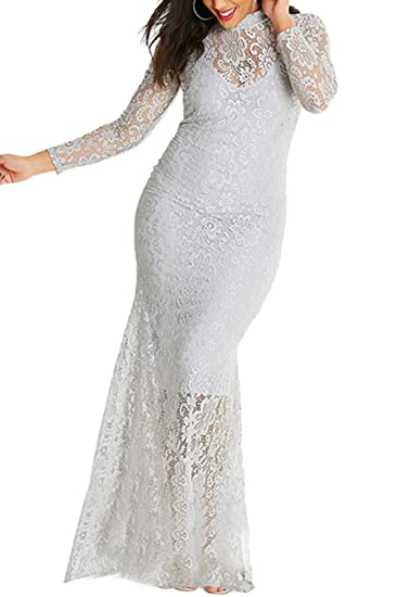 Dokotoo Womens Plus Size High Neck Lace Fishtail Maxi Dress