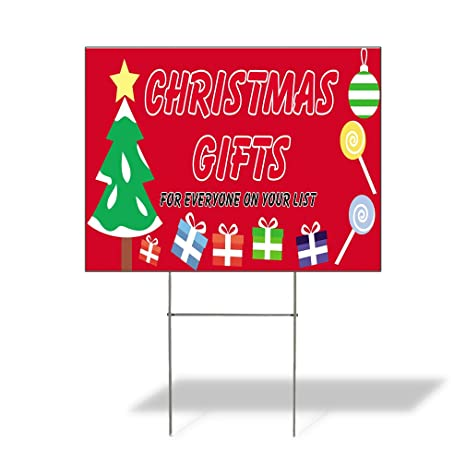 abc4f322c2 Amazon.com : Christmas Gifts For Everyone On Your List Outdoor Lawn  Decoration Corrugated Plastic Yard Sign - 12inx18in, Free Stakes : Garden &  Outdoor