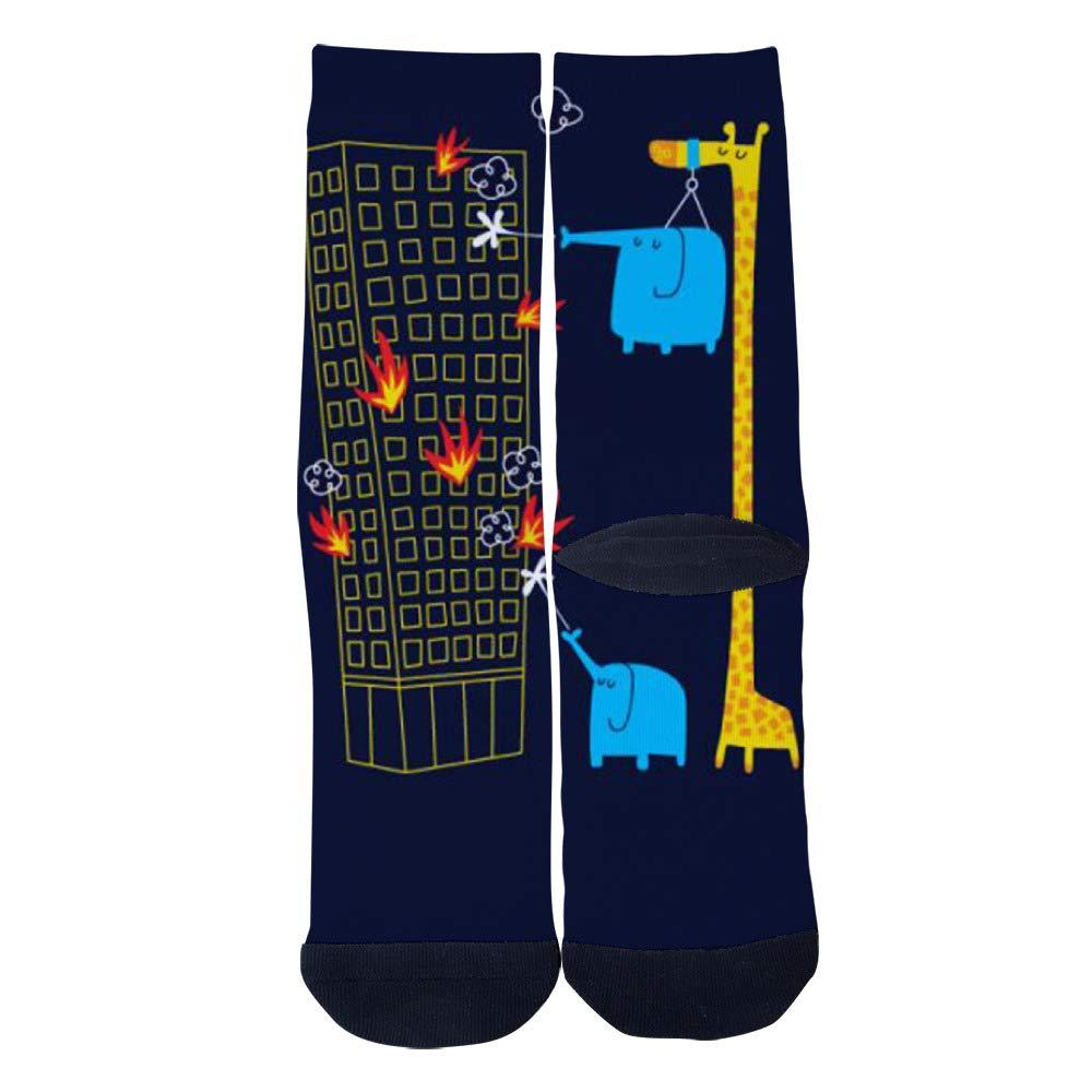 TheFun-Z Custom Elephants and Giraffes Socks Novelty Funny Cartoon Crew Socks Elite Casual Socks