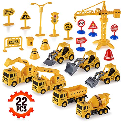 Construction Trucks Toy Set Toys for Kids Boys and Girls Age 3 Year Old & Up - Fun, Educational & Interactive vehicles STEM Toys - Life-like & Attention to Details - Complete Construction Equipment