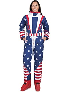 Tipsy Elves Women s American Flag Patriotic Ski Suit - Retro 80 s Inspired  USA Snow Suit for 3e402d36d