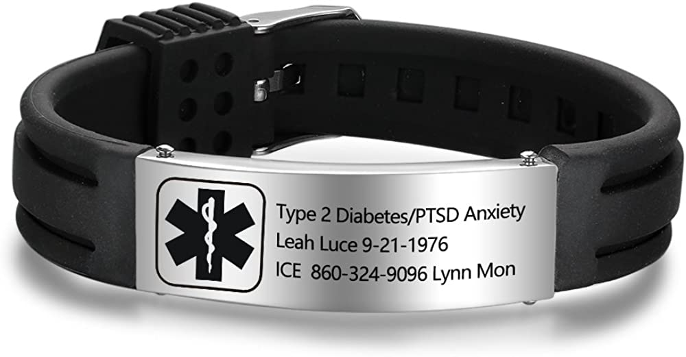 Personalized Silicone Adjustable Medical Alert Bracelets Waterproof Sport Emergency ID Bracelets for Men Women