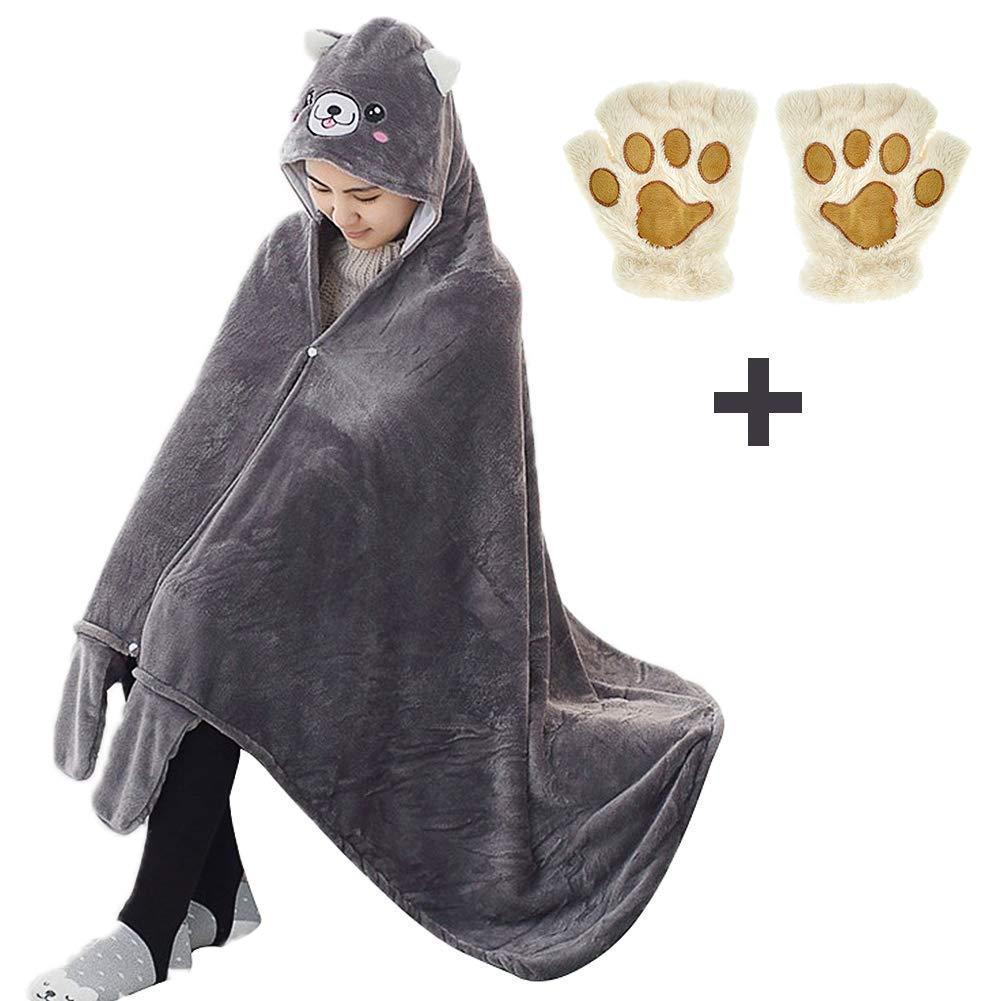 Elibelle Kids Teenager Critter Wearable Hooded Blanket Gloves Set(Gray) PIF03