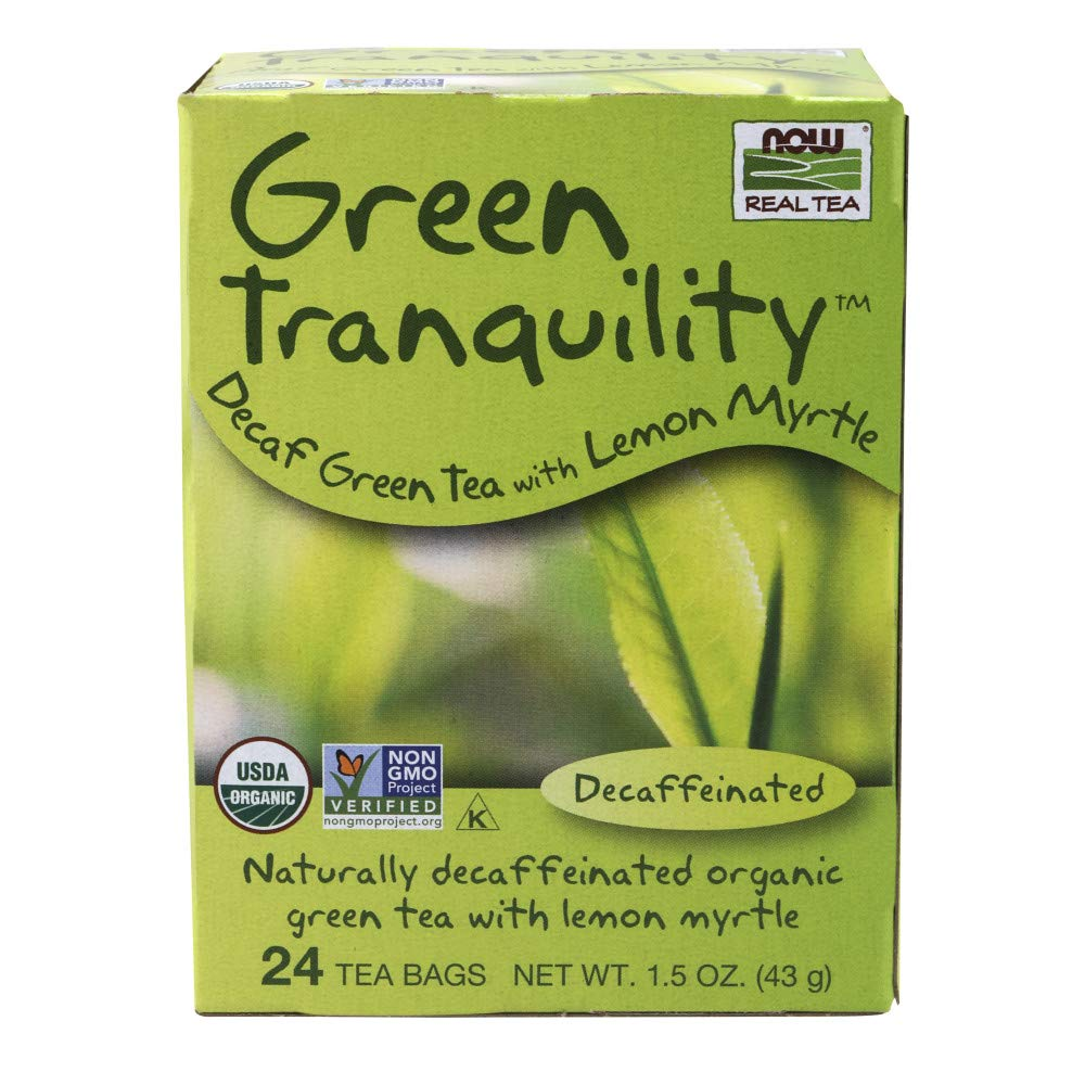 NOW Foods, Certified Organic Green Tranquility Tea, Decaf Green with Lemon Myrtle, Non-GMO, Premium Unbleached Tea Bags with No-Staples Design, 24-Count