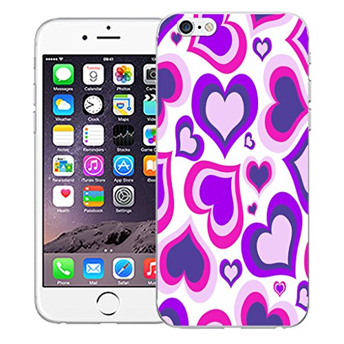 """Mobile Case Mate iPhone 6S Plus 5.5"""" Silicone Coque couverture case cover Pare-chocs + STYLET - Purple Multi Heart pattern (SILICON)"""