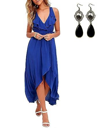 a1b3ec6267bb sitengle Damen Abendkleid mit Volant Tiefer V-Ausschnitt Bunte Kleider  Asymmetrisch Schlitz Maxikleider Sommerkleider Partykleider Cocktailkleid