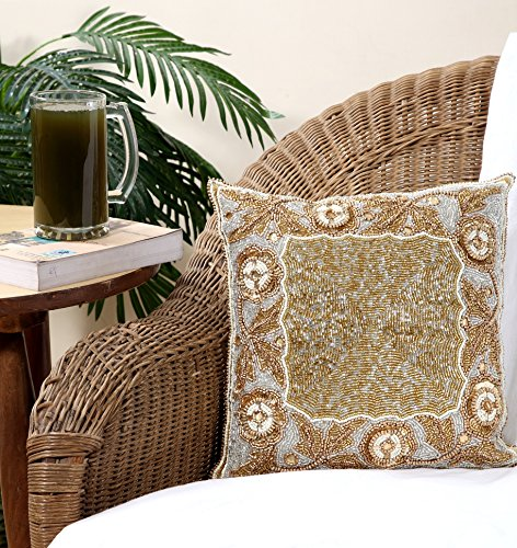 Beaded Decorative Pillow - Linen Clubs Floral border Hand Beaded Decorative Pillow cover 14''x14''Square Gold, handmade by skilled Artisans, A beautiful and elegant accessory to dress up your couch, sofa or bed