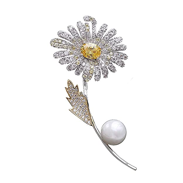 1960s Jewelry Styles and Trends to Wear Gabrine Womens Girls Fashion Jewelry Rhinestone Crystal Rose Flower Brooch Breastpin Sweater Pin Lapel Pin for Bridal Party Prom $15.99 AT vintagedancer.com