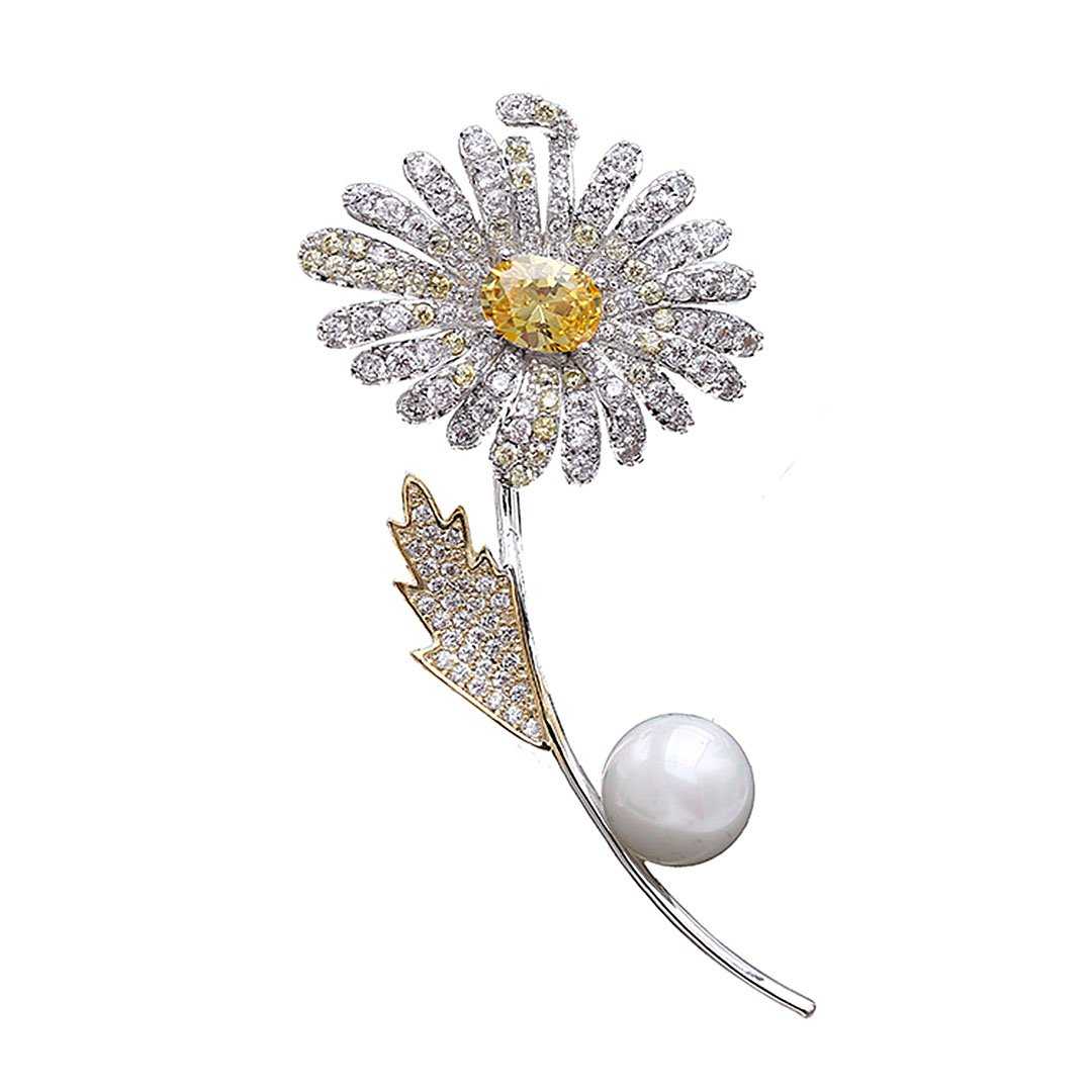 Gabrine Womens Girls Fashion Jewelry Rhinestone Crystal Pearl Daisy Flower Brooch Breastpin Sweater Pin Lapel Pin for Bridal Party Prom