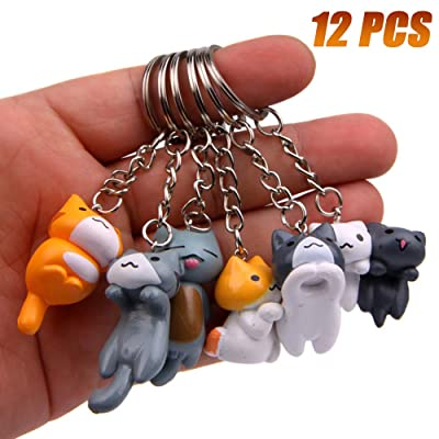 Finduat 12 Pcs Cat Keychains Charms, Collectable Figurines for Kids Adults, Birthday Party Centerpiece Decorations, Cat Theme Baby Shower Party Favors for Kids Birthday Party: Office Products