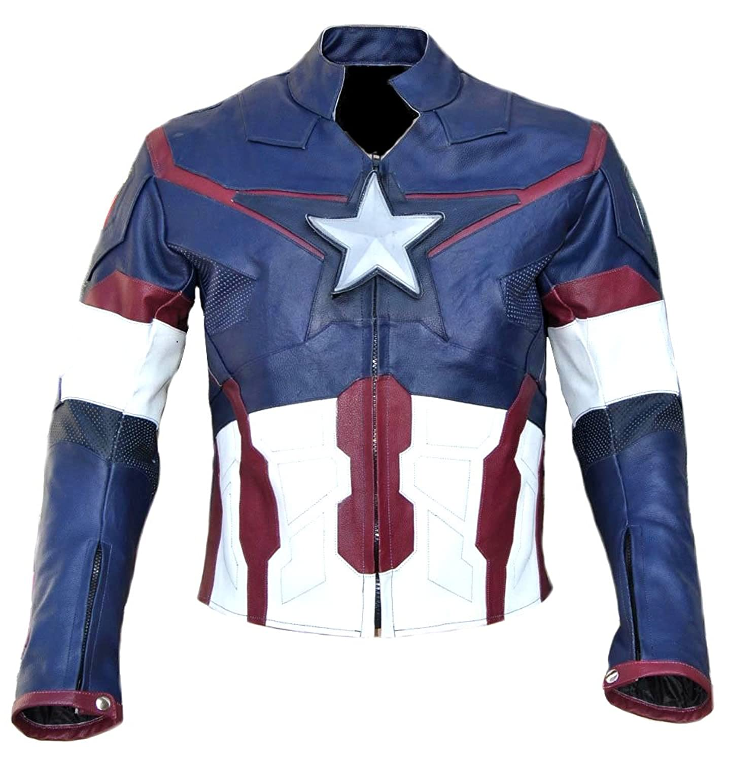 Avengers: Age of Ultron Men's Blue Captain America Real Leather Jacket - DeluxeAdultCostumes.com
