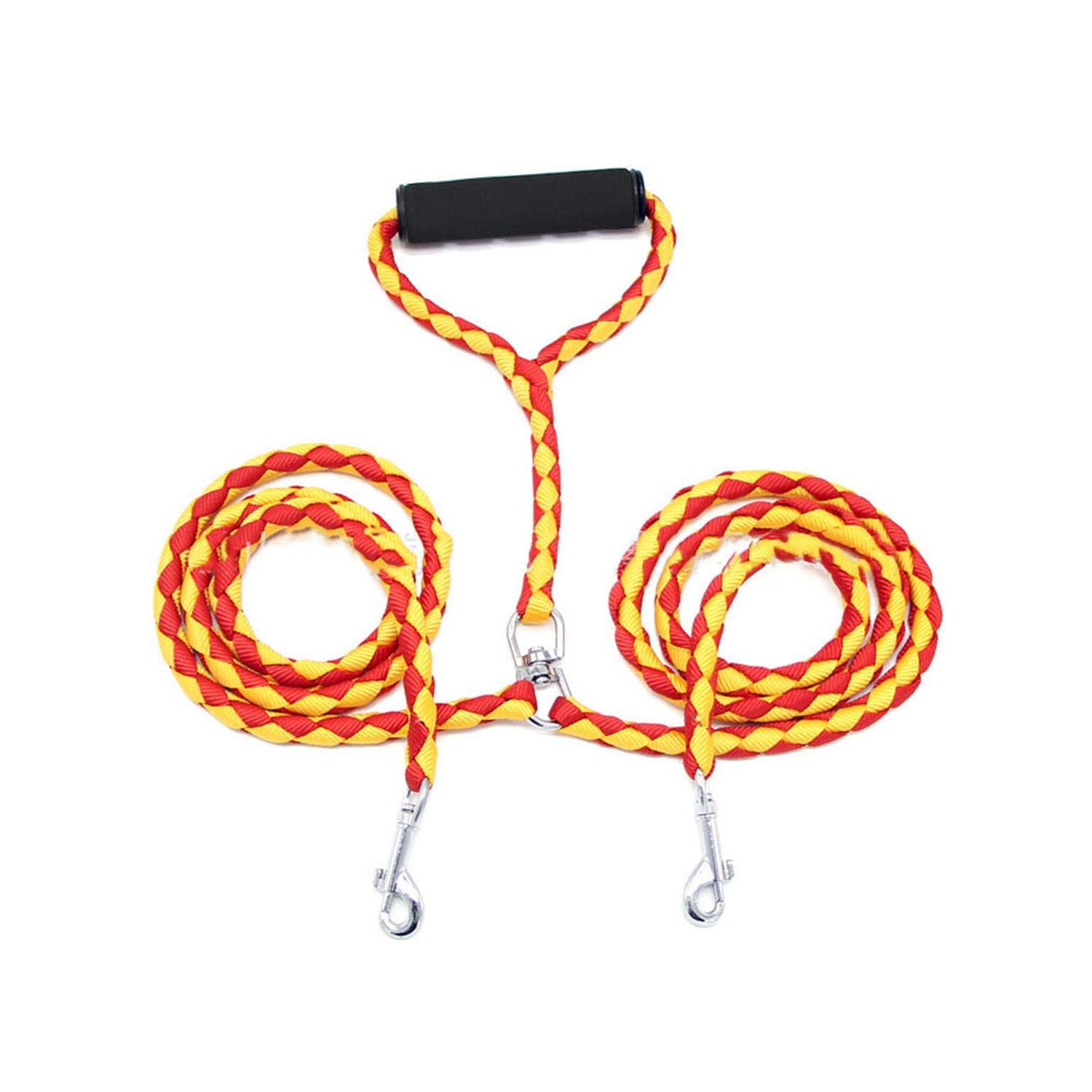 ZZmeet Pet Nylon Dual Dog Leash No-Tangle Double Dog Leash Coupler for 2 Dogs Contrast Color Padded Handle for Small Medium Large Dogs,RedBlack,140cm