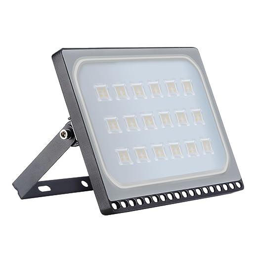 Proyector LED para exteriores, reflector IP67, diseño ultradelgado y ultraligero para jardín, jardín, terraza, cuadrado [Clase de eficiencia ...