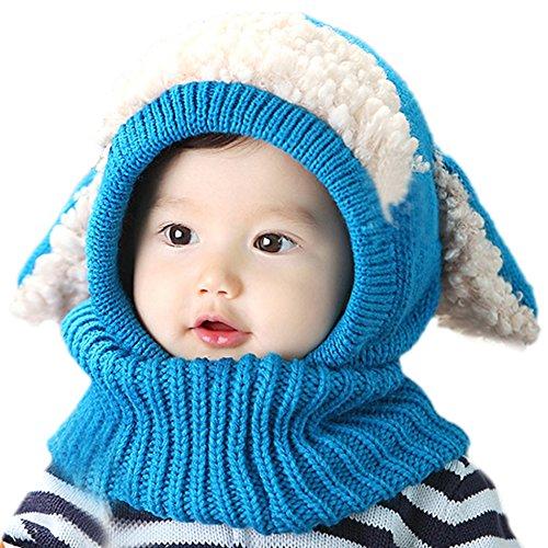 PanDaDa Baby Girls Boys Winter Hat Scarf Woolen Earflap Hood Scarves Skull Caps