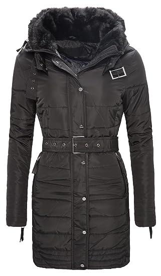 645613c55bdb Damen Winter Jacke Mantel Schwarz Fell Kragen lang Stepp D-106 S-XL   Amazon.de  Bekleidung