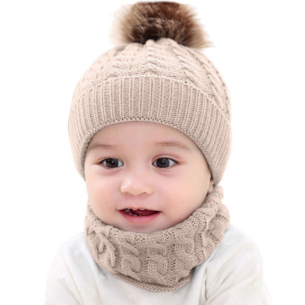Baby Knit Hat Kit, Inkach Toddler Boy Girl Crochet Cable Knitted Beanie Hats Scarf Set Skull Cap (Khaki)