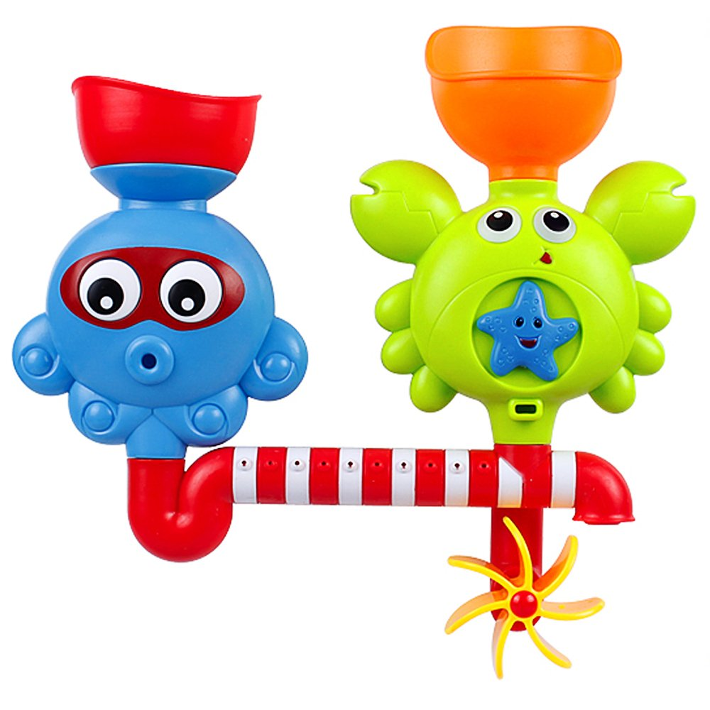 Waterfall Water Station Bath Toy - Bathtub Toy with Two Stackable Cups Fountain Water Shower Toy for Children Kids Style-Carry