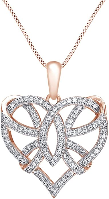 AFFY Ribbon Open Heart Pendant Necklace in 14k Gold Over Sterling Silver