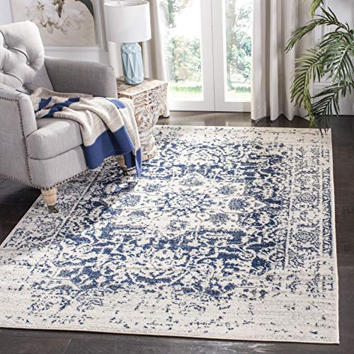 Safavieh Madison Collection MAD603D Cream and Navy Distressed Medallion Area Rug (5'1
