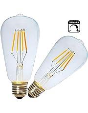 Vintage Filamento LED E27 Bombilla 4W,Regulable,Blanco Cálido 2200K,LED E27 ST64 Antique LED Edison Bombilla Equivalente 40W Bombillas Incandescentes,Pack de 2 Unidades