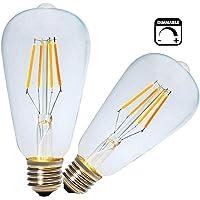 Vintage Filamento LED E27 Bombilla 4W,Regulable,Blanco Cálido 2200K,LED