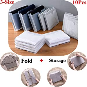 Blemon Multipurpose Clothes Organizer To Fold Protect Organize Tshirt Sweater Skirt, 3-Size for Coat Jean Tee Shirt Folding Board Durable Plastic Flipfold Laundry Folder Organizer 10-Pack
