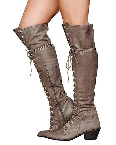 17ad5c862b72da Minetom Damen Winterstiefel Overknees Stiefel Blockabsatz Stiefeletten  Langschaft Mode PU Leder Schuhe Retro Niet Seitenreißverschluss Schnüren