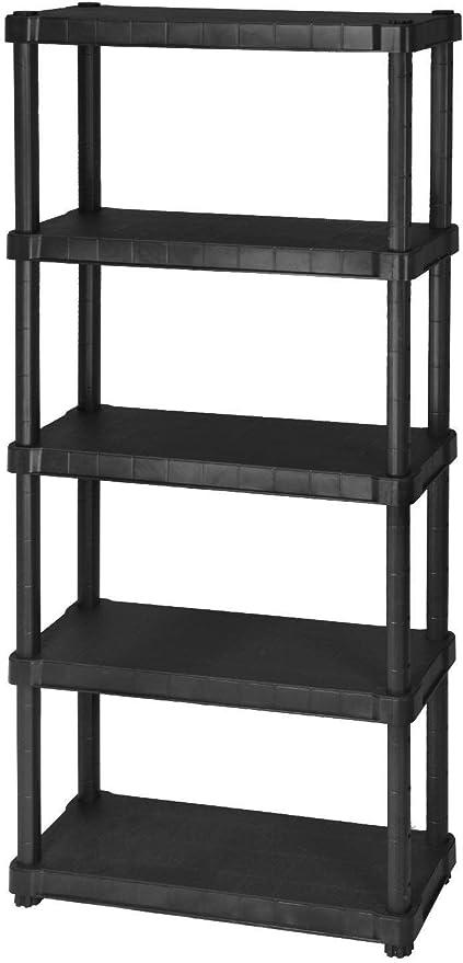 Desconocido dimaplast2000 Océano Estantería de Resina con 5 estantes, Negro, 80 x 30 x 188 cm