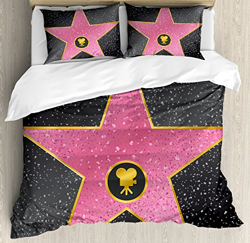 Ambesonne Popstar Party Duvet Cover Set Queen Size, Hollywood Walk of Fame Symbol Celebrity Entertainment Culture, Decorative 3 Piece Bedding Set with 2 Pillow Shams, Charcoal Grey Pale - Comforter Celebrity Set