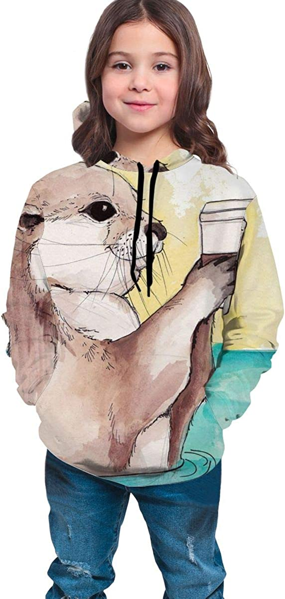 HengStore Watercolor Otter Fleece Pullover Hooded Sweater Casual for Teen Boys Girls School
