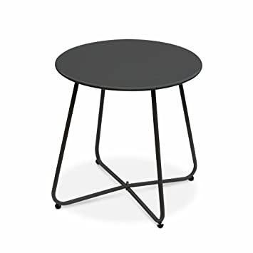 Alice\'s Garden - Table Basse Ronde - Cecilia Gris Anthracite - Table ...