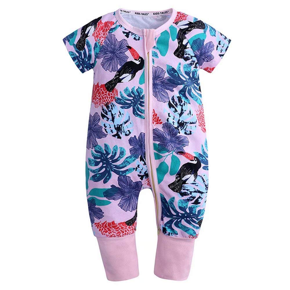 Kings Love Baby Boys /& Girls Zipper Closure Short Sleeve Pajama Sleeper Cotton Romper Size 3M-3T