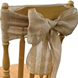 Koyal Vintage Rustic Burlap Chair Sash, 6-Pack by Koyal