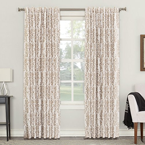 Sun Zero Rita Floral Blackout Lined Back Tab Curtain Panel, 52