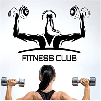 Qqasd Fitness Club Gym Mancuernas Etiqueta Chica Crossfit Calcomanía Body-vinilo Adhesivos de pared Decoración