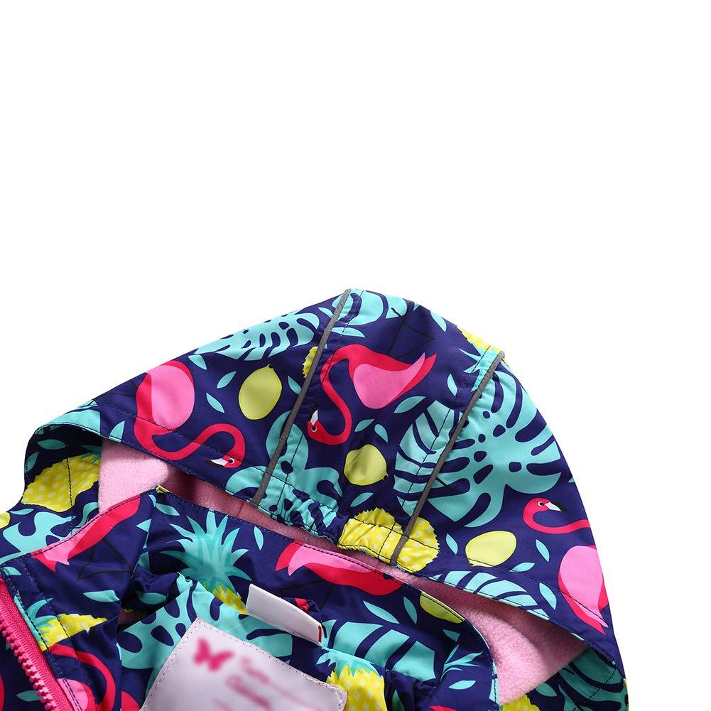 Girls Waterproof Windproof Hooded Coat Jacket Cute Printed Floral Hiking Raincoat Outwear
