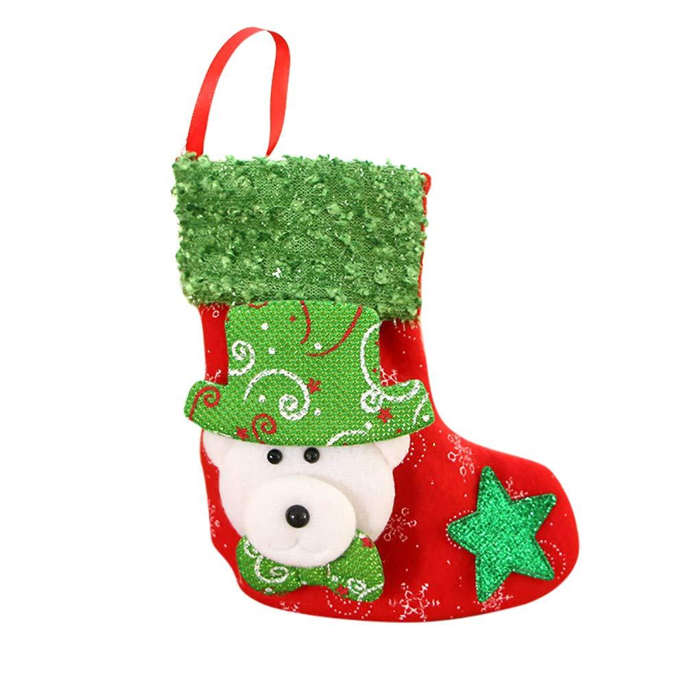 WeiYun Christmas Stocking Mini Sock Santa Claus Candy Gift Bag Xmas Tree Hanging Decor