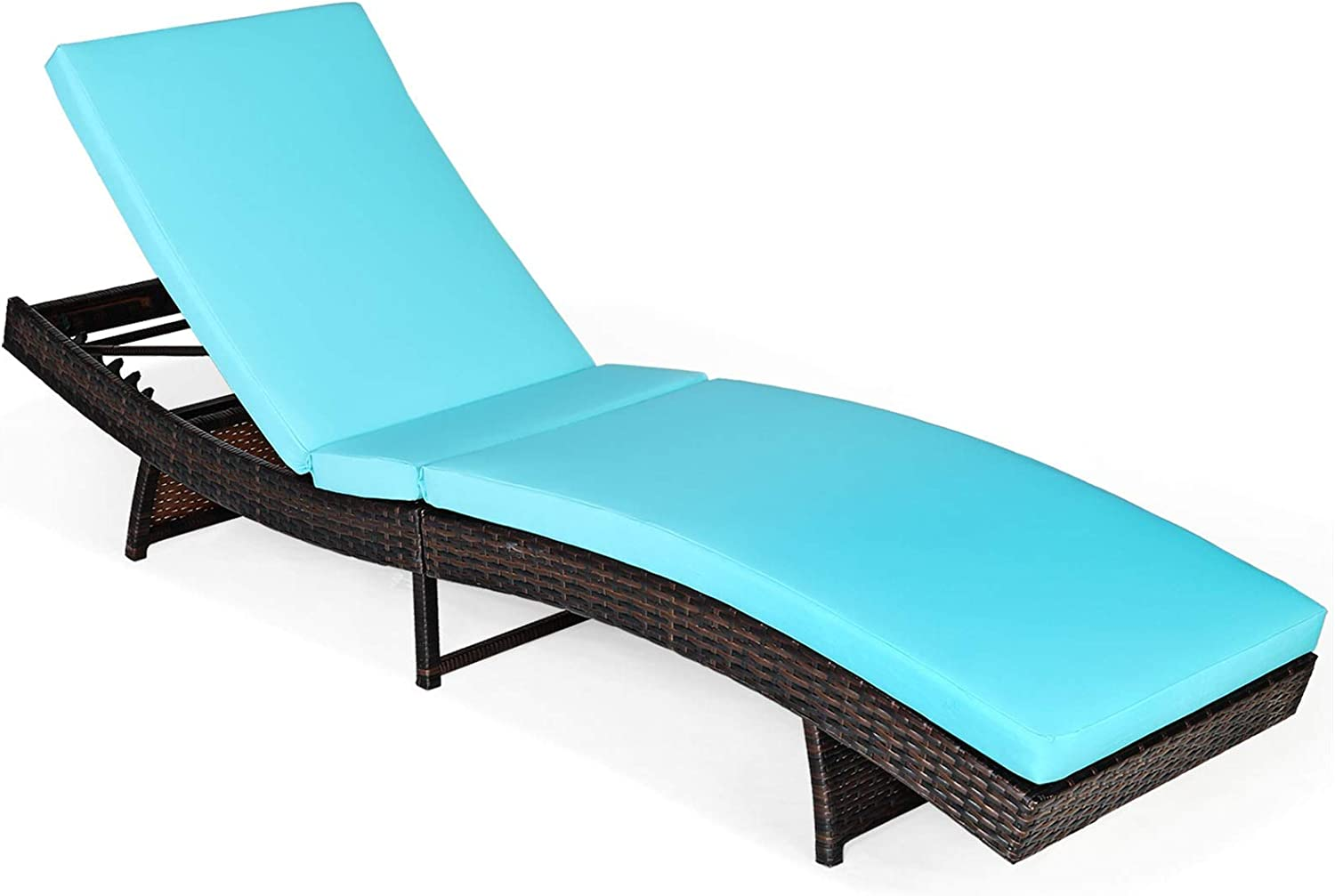 RELAX4LIFE Chaise Lounge Chair Recliner Patio Adjustable Folding Reclining Wicker Chair with 5 Backrest Positions, Removable Upholster for Pool, Garden Outdoor PE Rattan Reclining Chair(1, Turquoise)