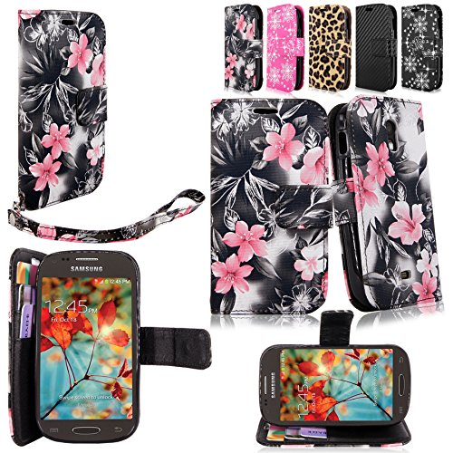 Cellularvilla For Samsung Galaxy Light T399 T-Mobile Wallet Pu Leather Flip Folio Stand Case Cover Pouch Credit ID Card Holder Slots Money Pockets and Detachable Wrist Strap (Black Pink Flower) (Samsung Galaxy Light Phone Case compare prices)