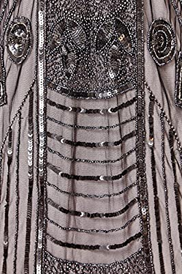 gatsbylady london Daisy Vintage Inspired Flapper Dress in Black Silver