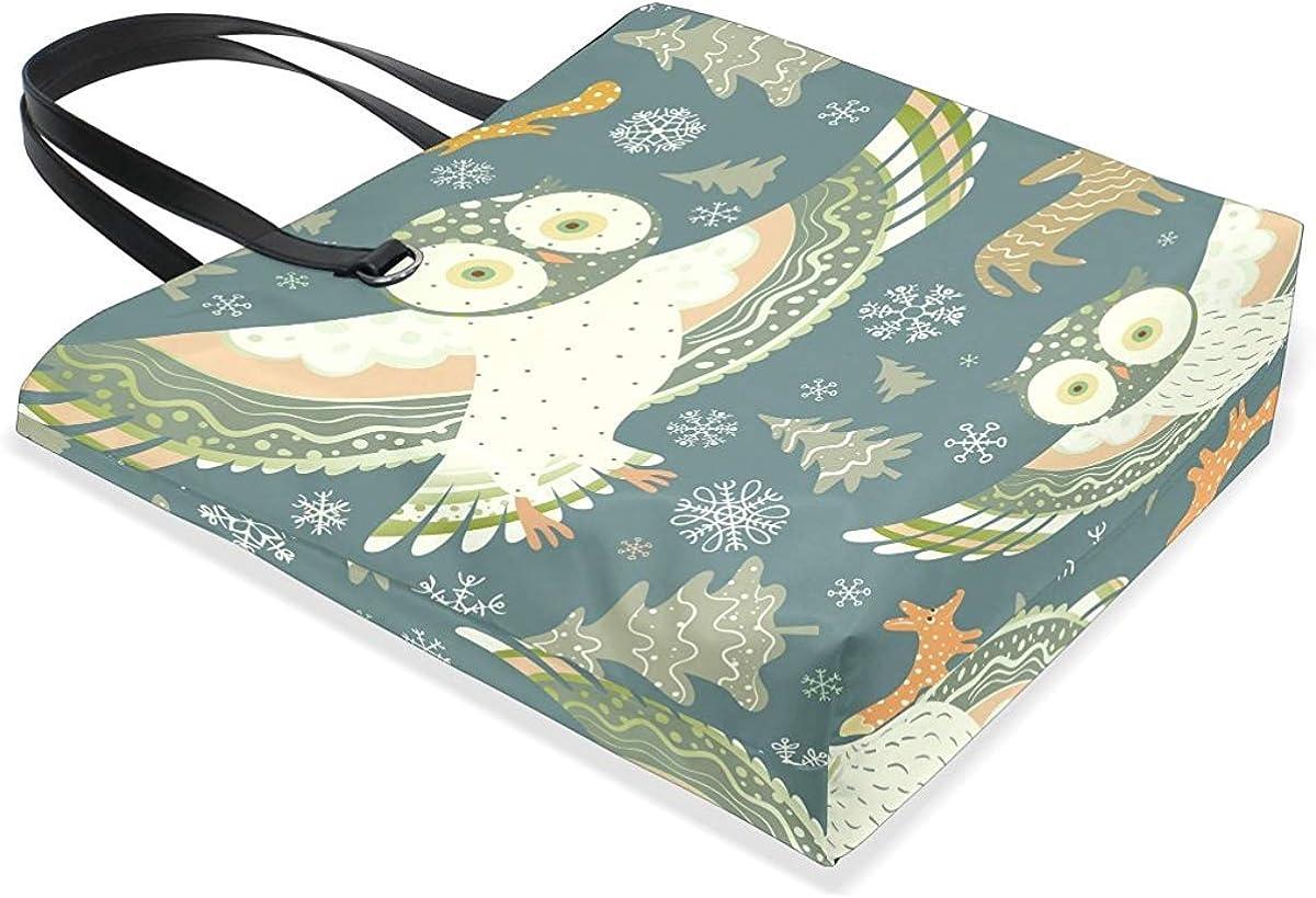 for Womens Tote Bag Purse Leather Girl Christmas Owl Snowflake Deer Handbag