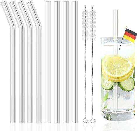 4x GLAS STROHHALME Glastrinkhalme Glasstrohhalme Getränke Trinkrohr transparent!