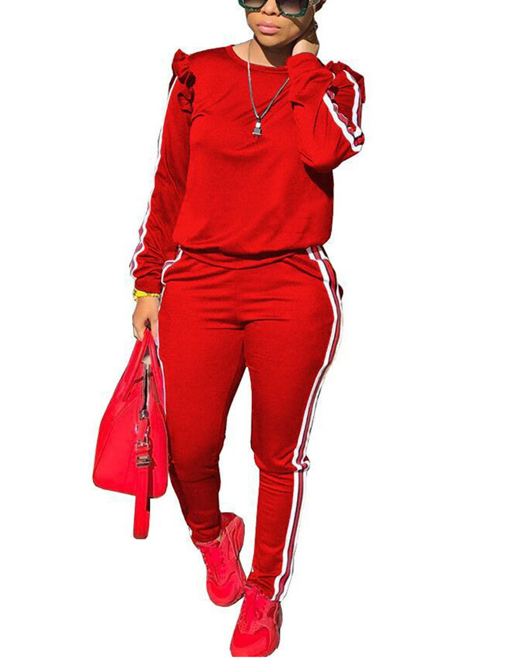 Two Piece Red Outfits For Women Casual Ruffle Sleeve Sweatshirt and Sweat Pants Sweatsuits Set Tracksuits S