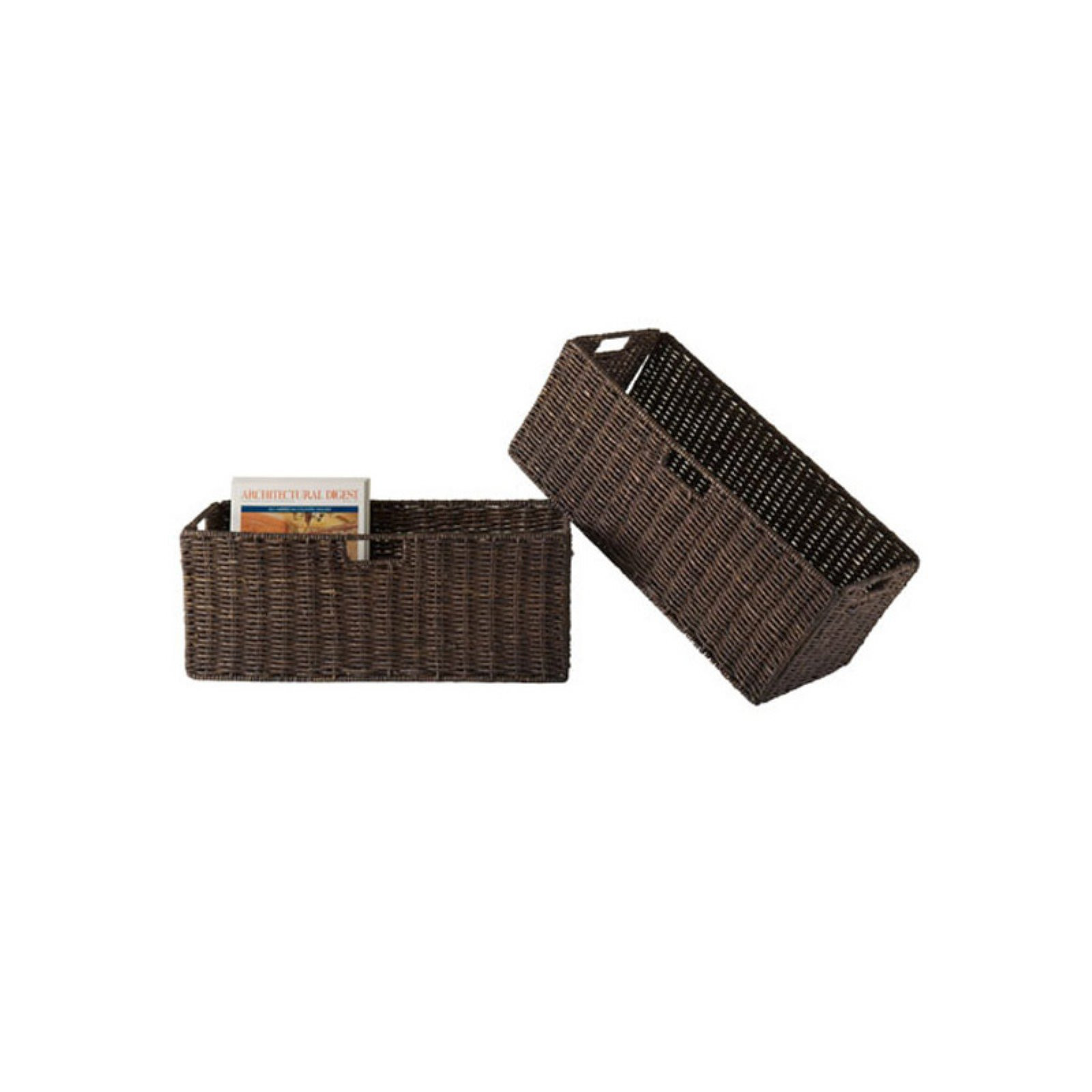 Foldable Corn Husk Decorative Storage Basket - Set of 2 - Large Chocolate