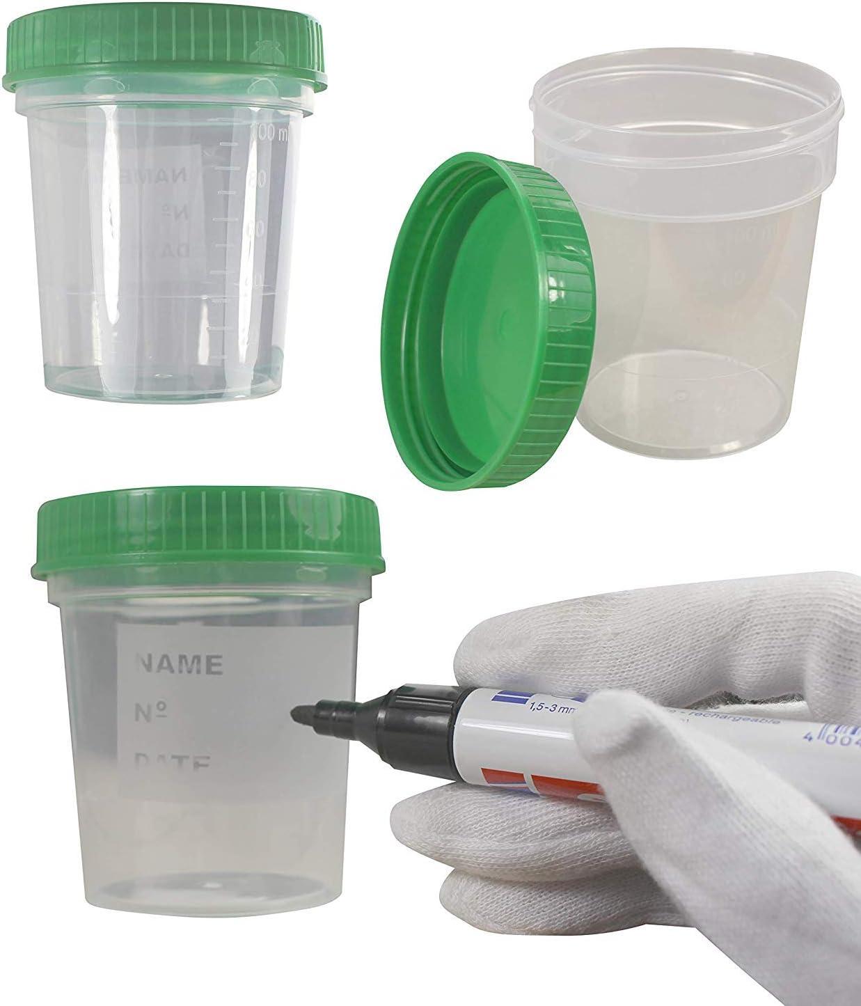 25 x Envase de la orina 125 ml / Color: Natural / Tapón de rosca: Verde / con Graduación / higiénico embalado / con Cuadro de rotulación de Taza y Tapa / Tazas de la muestra de orina / Muestra de orin