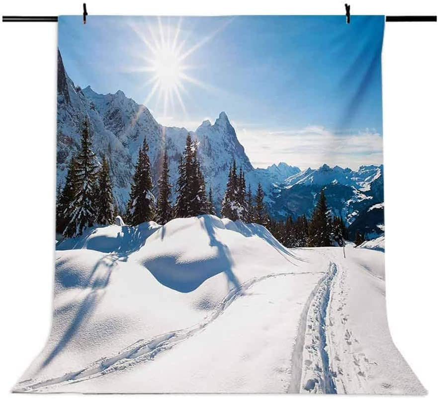 Winter 6.5x10 FT Photo Backdrops,Panoramic Winter Scenery on Snow Covered Mountain with Sunny Weather and Trees Photo Background for Photography Kids Adult Photo Booth Video Shoot Vinyl Studio Props