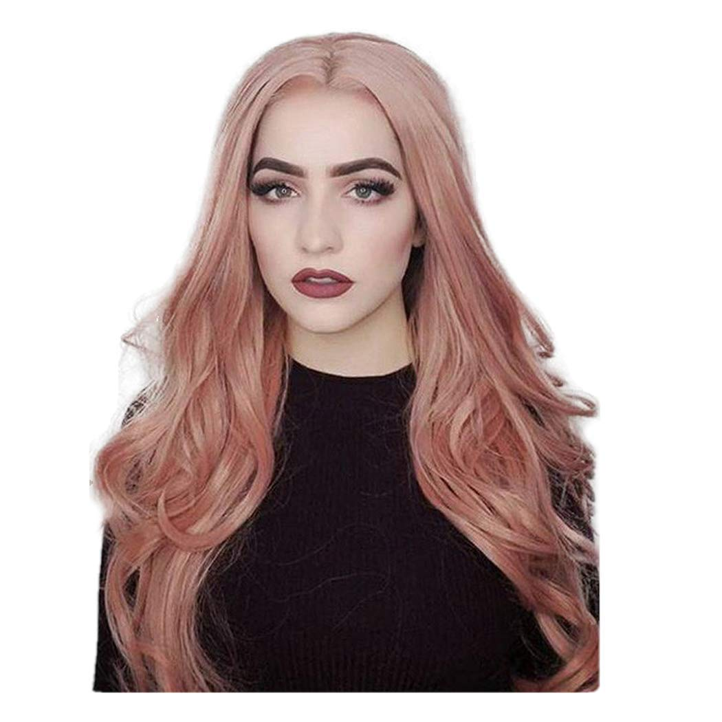 Showez Pink Long Curly Wavy Wigs Middle Part Synthetic Hair Replacements Lace Front Wigs Daily Halloween Cosplay Costume Party Wig for Women (24 inch, Pink) by Showez